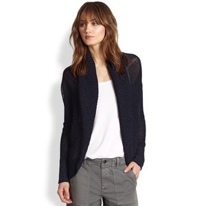 Vince Navy Crochet Knit Cocoon Sweater Cardigan